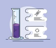 Infografik mit chemischem Laborreagenzglas und Erforschung des Coronavirus vektor