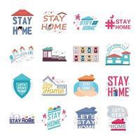 Sammlung von Symbolen zur Verhinderung des Aufenthalts zu Hause und des Coronavirus vektor