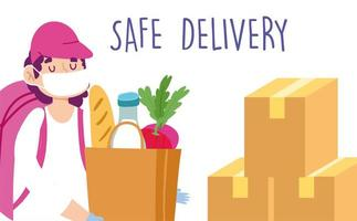 ung man levererar säkert matvaror under koronavirusutbrott vektor