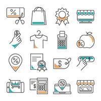 shopping och mode kläder handel Ikonuppsättning vektor