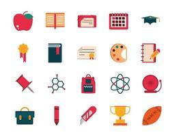 Sammlung von Schulmaterial und Schreibwaren flache Design-Ikonen