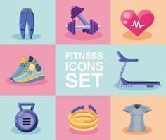 samling av fitness-ikoner vektor