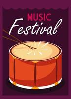 Plakatmusikfestival mit Musikinstrumententrommel vektor