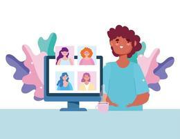 Personen in einem Video konferieren auf dem Computer