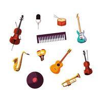 samling av musikinstrument för musikfestival vektor