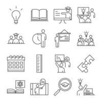 skola och utbildning linje ikon samling vektor