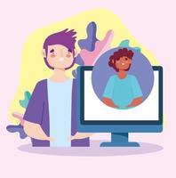 unga män pratar via videosamtal på datorn vektor