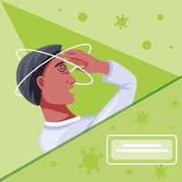 sjuk man med koronavirus som lider av symtom