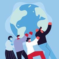global kamp mot coronavirus och personer med ansiktsmask vektor