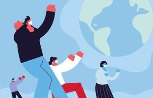 global kamp mot coronavirus och personer som bär ansiktsmask vektor