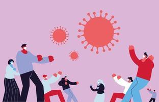 människor som använder medicinsk mask för att slåss mot coronavirus vektor