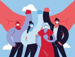 grupp människor med medicinsk mask som slåss mot coronavirus vektor
