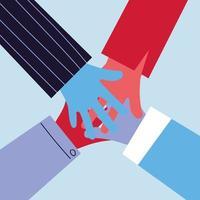 mänskliga händer förenade sig slåss tillsammans vektor