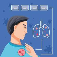 Mann mit von Viren betroffenen Lungen