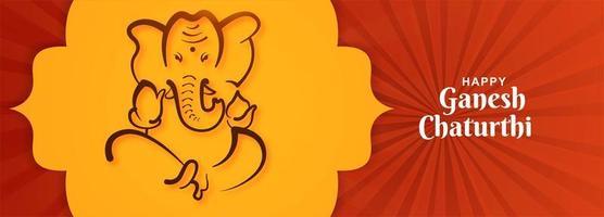 glad ganesh chaturthi festival herre ganpati sittande banner vektor