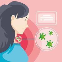 kvinna smittad med koronavirus lidande symtom