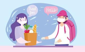 man bär ansiktsmask på ett säkert sätt levererar mat till en kvinna vektor