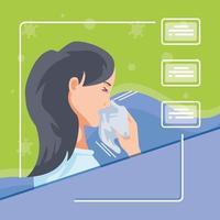Infografik mit Frau, die mit Coronavirus infiziert ist