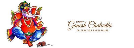 lord ganesha för ganesh chaturthi akvarell kort banner vektor