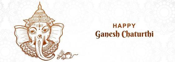 konstnärliga ganesh chaturthi festival banner vektor