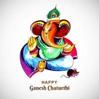 glad ganesh chaturthi indisk festival färgglad affisch vektor