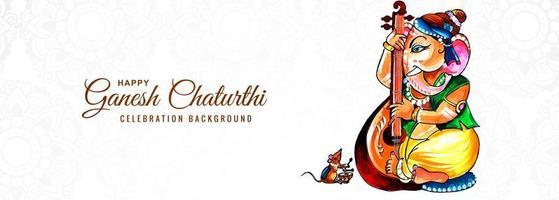 bön till herre ganesha för ganesh chaturthi banner vektor
