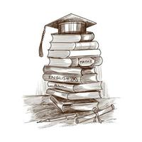 handgezeichnete Bildung Stapel Bücher Skizze
