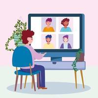 ung man som arbetar på datorn under en onlinekonferens vektor