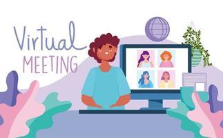virtuellt möte med människor från hela världen banner mall vektor
