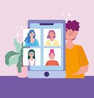 junger Mann mit Smartphone im Gespräch mit Menschen virtuell