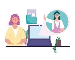 kvinnor pratar via virtuellt möte och videokonferens vektor