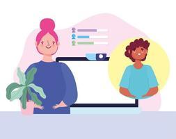 virtuellt möte och videokonferens mellan två personer vektor