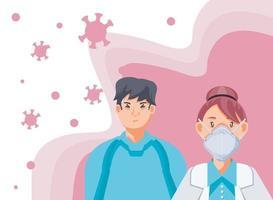 Ärztin mit medizinischer Maske und Patientin mit Coronavirus-Symptomen vektor