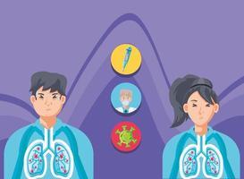 Menschen mit Lungen, die von Viren betroffen sind