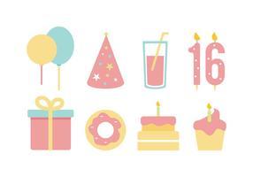 Gratis födelsedag platt ikonuppsättning vektor