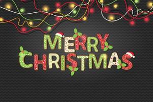 god julkaketext och färgglada ljus vektor