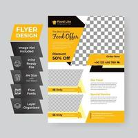 svart, gult och vitt mat erbjudande flygblad mall vektor