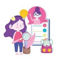 lärare och student tjej ansluter via smartphone vektor