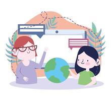 flicka som håller ett jordklot som pratar med läraren vektor