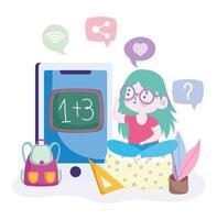 ung flicka studerar matematik på smartphonen vektor
