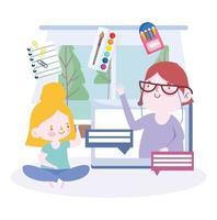 onlineutbildning med tjej som pratar med läraren på datorn vektor