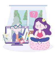onlineutbildning med tjej i konstklass med lärare på datorn vektor