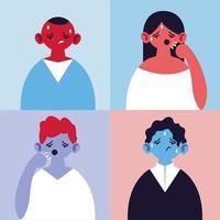 uppsättning människor med hosta och feber