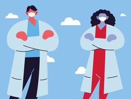 två läkare med medicinska ansiktsmasker vektor