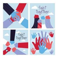 uppsättning upphöjda nävar och händer för att slåss tillsammans vektor