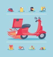 uppsättning snabb leverans ikoner och motorcykel vektor