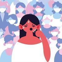 kvinna med hosta och feber