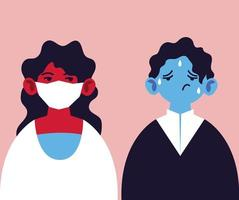 zwei Personen mit medizinischer Gesichtsmaske und Fieber