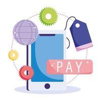 Online-Zahlungs- und E-Commerce-Symbol vektor