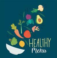 hälsosam menybokstäver med produkter som faller i en skål